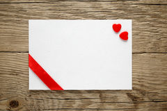 Valentine card with two hearts Stock Image