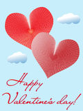 Valentine card with two hearts. Royalty Free Stock Photo