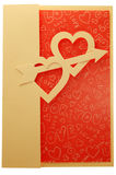 Valentine card with two hearts and arrow Stock Images