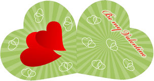Valentine card with two red hearts stock images