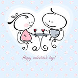 Valentine card. Valentines couple,  meet on a date. Vector illustration of Valentine card Royalty Free Stock Images