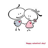 Valentine card. Valentines couple,  meet on a date. Vector illustration of Valentine card Stock Images