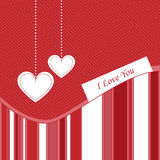 Valentine card - vector. Illustration of valentine card in red and white colors,with hanging hearts.EPS file available Stock Image
