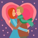 Valentine card. Vector valentine card with couple in love on a purple background with pink hearts Stock Photo
