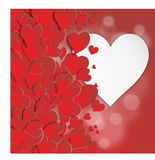 Valentine card with volumetric hearts Royalty Free Stock Images