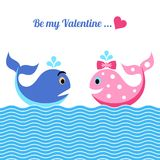 Valentine card with whales. Cute be my valentine card with funny whales Stock Images