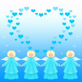 Valentine Card With Angels Royalty Free Stock Photos