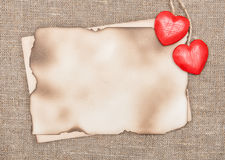 Valentine card with wooden hearts Royalty Free Stock Images