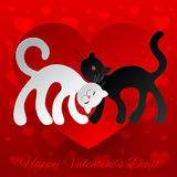 Valentine card wuth two enamored cats Stock Images