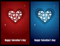 Valentine cards. Set of two Valentine cards, red and blue, isolated on black backgrounds.EPS file available Stock Photography