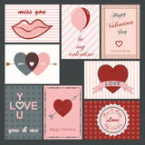 Valentine cards. A set of happy valentines day and weeding cards Stock Photos