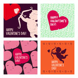 Valentine cards. Hand drawn design elements. Set cards. Hand drawn design elements Royalty Free Stock Images