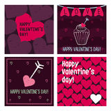 Valentine cards. Hand drawn design elements. Set cards. Hand drawn design elements Stock Photography