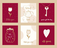 Valentine Cards and Love Notes Hand Drawn Set Stock Photography