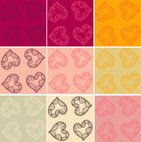 Valentine cards patterns set Stock Photo