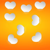 Valentine cards in the pockets on an orange background. Eps10 Stock Photography