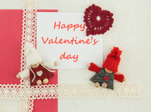 Valentine, carte de voeux avec le petit ruban rose et rouge rouge dedans Images stock