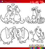 Valentine cartoon themes for coloring Stock Photos