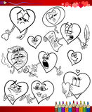 Valentine cartoon themes for coloring Stock Images