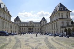 Valentine castle on turin italy. Valentino castle in turin iataly durin salone dell& x27;auto Royalty Free Stock Photo