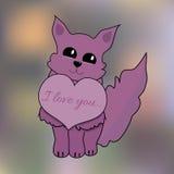 Valentine Cat con el corazón en el fondo de la falta de definición para Valentine Day Imagen de archivo libre de regalías