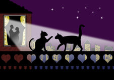 Valentine cats and couple in Love. Silhouette of cats on a wall of hearts with romantic couple at window Royalty Free Stock Photos