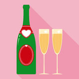 Valentine Champagne Bottle and Two Glasses in Flat Stock Photos