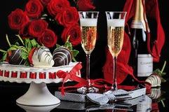 Valentine Champagne Flutes Roses Lingerie Photographie stock libre de droits
