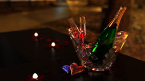 Valentine Champagne & Glasses Royalty Free Stock Photography