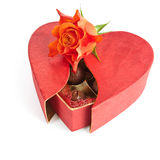 Valentine chocolate box  on white. Box of chocolates shaped as a heart on white background Royalty Free Stock Photos
