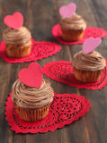 Valentine chocolate cupcake Royalty Free Stock Images