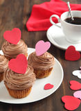 Valentine chocolate cupcake Stock Photo