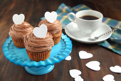 Valentine chocolate cupcake Royalty Free Stock Image