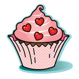 Valentine chocolate cupcake pink icing wrapper red heart candy Royalty Free Stock Photos