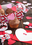 Valentine chocolate cupcake and Valentine card Stock Photo