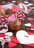 Valentine chocolate cupcake and Valentine card. Valentine chocolate cupcake in paper box and Valentine card Stock Photo