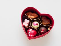 Valentine chocolate gift box in heart shape isolated over white background Stock Image