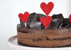 Valentine chocolate mousse layer gateau cake - closeup. Stock Photos