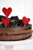 Valentine chocolate mousse layer gateau cake - closeup vertical. Stock Photography