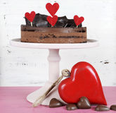 Valentine chocolate mousse layer gateaux cake Royalty Free Stock Photography