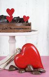 Valentine chocolate mousse layer gateaux cake Royalty Free Stock Image