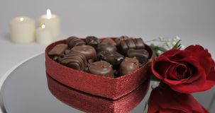 Valentine Chocolate Rose Candles stock footage