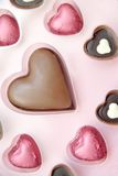 Valentine Chocolates. Chocolates in the shape of hearts perfect for valentines day or as wedding day favours Stock Photo