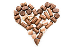 Valentine Chocolates Arranged in Heart Shape Stock Photography