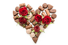 Valentine Chocolates Arranged in Heart Shape Stock Photo