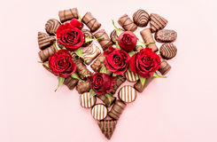 Valentine Chocolates Arranged in Heart Shape Royalty Free Stock Photography