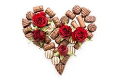 Valentine Chocolates Arranged nella forma del cuore Fotografia Stock