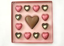 Valentine Chocolates box. Chocolates in gift box in the shape of hearts perfect for valentines day or as wedding day favours Stock Image