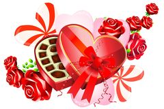 Valentine: Chocolates & Roses. Heart shaped box of chocolates with a bow. Red roses with small sprigs of green leaves. various sized hearts, some with stripes Stock Image