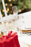 Valentine or Christmas Gift Elegant Place Setting at Formal Table Royalty Free Stock Image